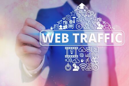 Handwriting text writing Web Traffic. Conceptual photo amount of web users and attempted visit measured of a website