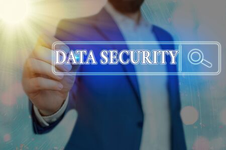 Word writing text Data Security. Business photo showcasing Protected important an individualal data from unauthorized access