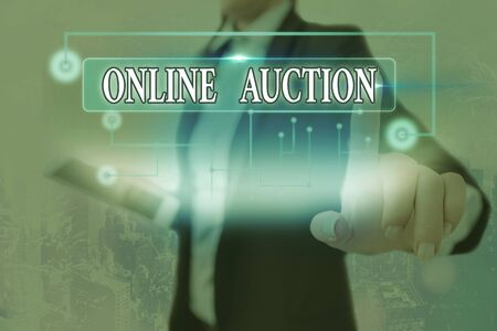 Text sign showing Online Auction. Business photo text digitized sale event which item is sold to the highest bidder
