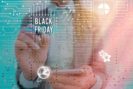 Text sign showing Black Friday. Business photo text a day where seller mark their prices down exclusively for buyer