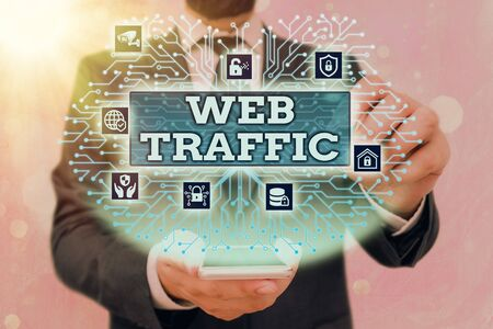 Handwriting text Web Traffic. Conceptual photo amount of web users and attempted visit measured of a website Banque d'images