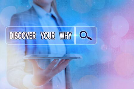 Text sign showing Discover Your Why. Business photo text knowing the reason and purpose of one self s is existence Standard-Bild