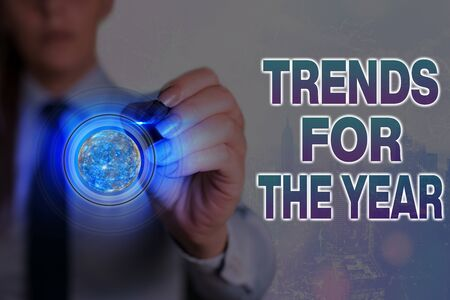 Word writing text Trends For The Year. Business photo showcasing fashion styles or preferences for a period of time Banque d'images