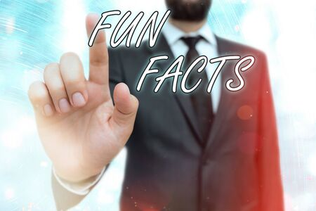 Writing note showing Fun Facts. Business concept for short interesting trivia which contains pieces of information
