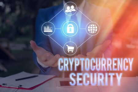 Conceptual hand writing showing Cryptocurrency Security. Concept meaning prevent unauthorized digital money transactions Imagens