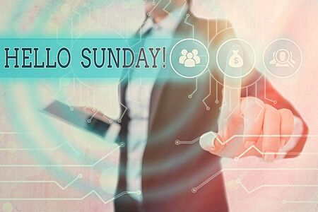 Writing note showing Hello Sunday. Business concept for inspired positive greeting for having a happy weekend