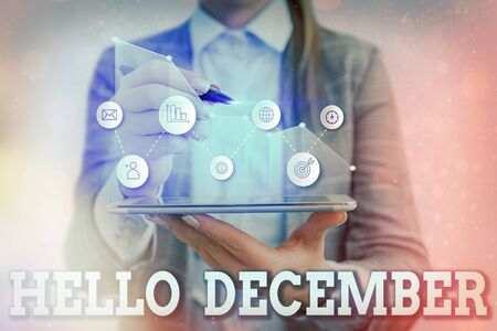 Writing note showing Hello December. Business concept for greeting used when welcoming the twelfth month of the year
