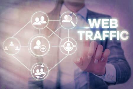 Word writing text Web Traffic. Business photo showcasing amount of web users and attempted visit measured of a website