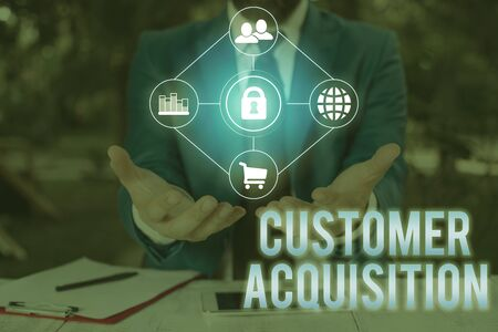 Conceptual hand writing showing Customer Acquisition. Concept meaning it refers to gaining new consumers to the business