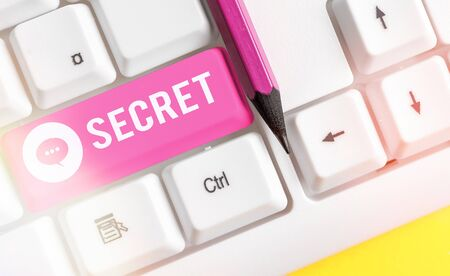 Word writing text Secret. Business photo showcasing practice of hiding information from certain individuals or groups