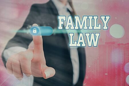 Conceptual hand writing showing Family Law. Concept meaning body of legal practice dealing with inside household matters