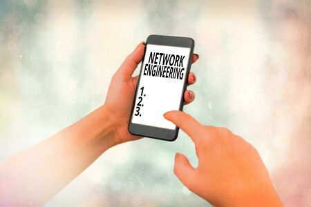 Writing note showing Network Engineering. Business concept for professional who has the skills to oversee the net