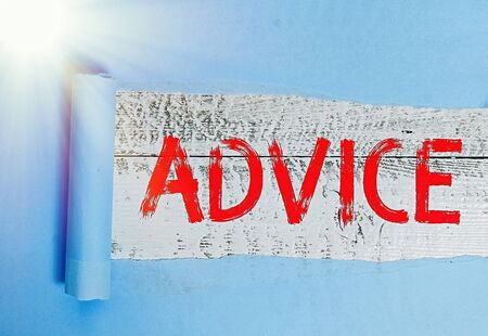 Word writing text Advice. Business photo showcasing recommendation is given regarding a decision or course of conduct