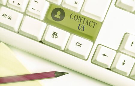 Word writing text Contact Us. Business photo showcasing contact information provided to assist customers needs