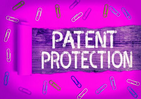 Text sign showing Patent Protection. Business photo text provides an individual or legal entity with exclusive rights