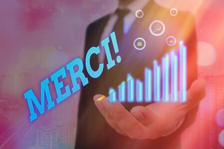 Word writing text Merci. Business photo showcasing thank you in French what is said when someone helps you in France