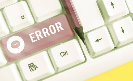 Word writing text Error. Business photo showcasing failure or in deviation from the intended performance or behavior