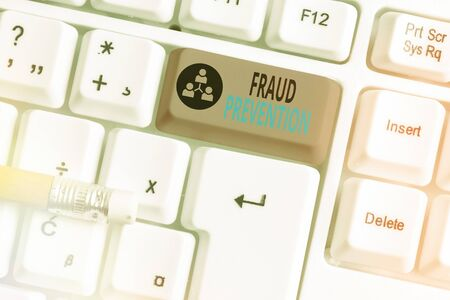 Word writing text Fraud Prevention. Business photo showcasing to secure the enterprise and its processes against hoax Stock Photo