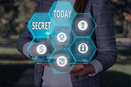 Text sign showing Secret. Business photo showcasing practice of hiding information from certain individuals or groups