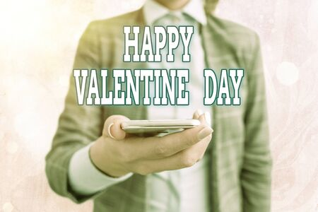 Conceptual hand writing showing Happy Valentine Day. Concept meaning a special day for lovers to express their affection to themselves