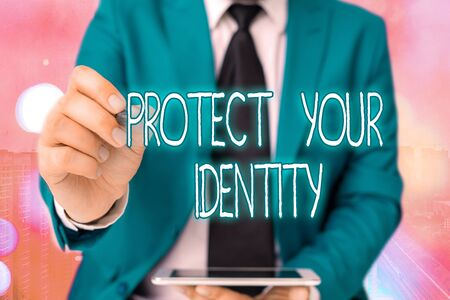 Word writing text Protect Your Identity. Business photo showcasing secure from data breach and information security Banque d'images - 149397032