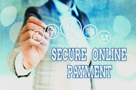 Word writing text Secure Online Payment. Business photo showcasing safe digital technology electronic transfer of remittance