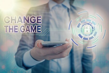 Text sign showing Change The Game. Business photo showcasing adjustment in coarse strategy planning process etc Banque d'images - 149397143