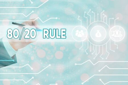 Conceptual hand writing showing 80 Or 20 Rule. Concept meaning law of the vital few as effect roughly resulted from a cause Banque d'images