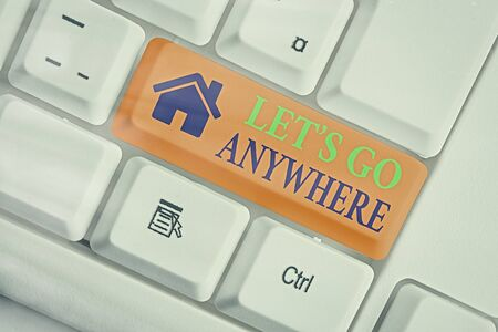 Text sign showing Lets Go Anywhere. Business photo text visit new places to meet strangers, enjoy, and relax