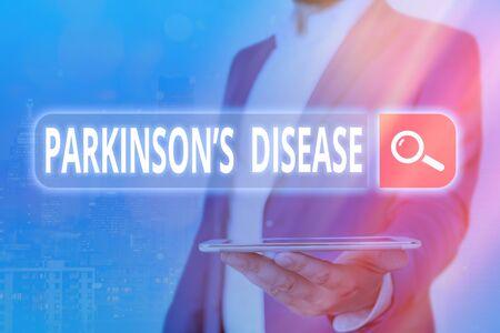 Handwriting text Parkinsons Disease. Conceptual photo chronic progressive neurological disease of later life