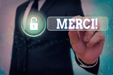 Text sign showing Merci. Business photo showcasing thank you in French what is said when someone helps you in France