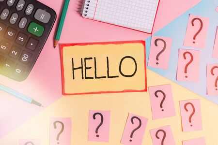 Text sign showing Hello. Business photo text alteration of hallo which was an alteration of holla or hollo Mathematics stuff and writing equipment above pastel colours background Stok Fotoğraf
