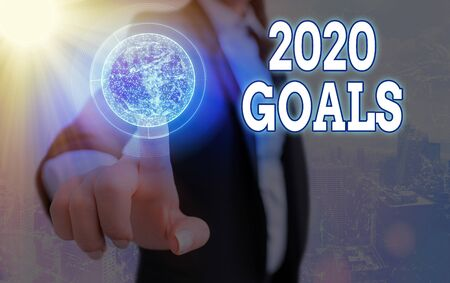 Text sign showing 2020 Goals. Business photo text a targeted list of ambitions that need to be fulfilled in a year Foto de archivo