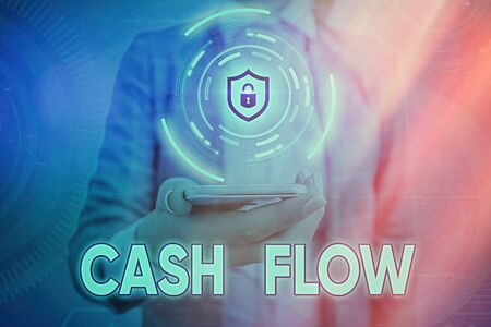 Text sign showing Cash Flow. Business photo showcasing auditing the net amount of cash transferred into and onto the business
