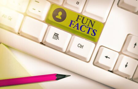 Word writing text Fun Facts. Business photo showcasing short interesting trivia which contains pieces of information