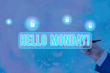 Word writing text Hello Monday. Business photo showcasing Good morning greeting for the inspiring first day of work