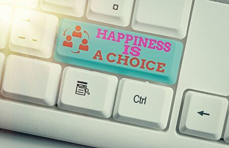 Writing note showing Happiness Is A Choice. Business concept for Stay happy no matter what Inspired Motivated Stock Photo