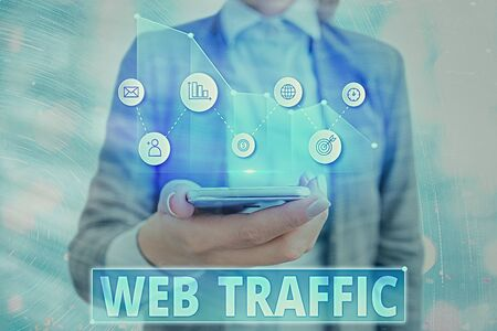Text sign showing Web Traffic. Business photo showcasing amount of web users and attempted visit measured of a website