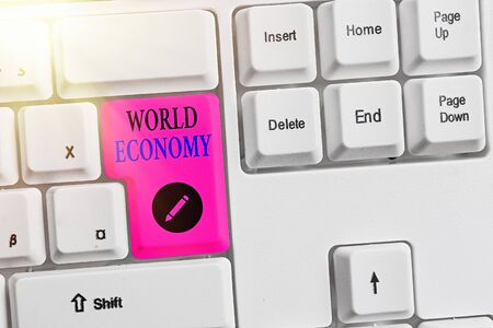 Word writing text World Economy. Business photo showcasing international trading of product and services around the world