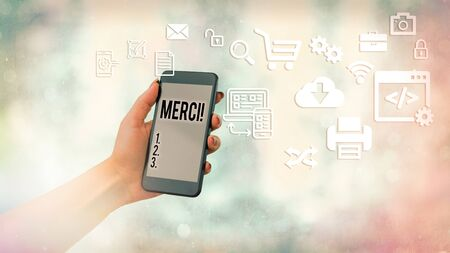 Handwriting text Merci. Conceptual photo thank you in French what is said when someone helps you in France