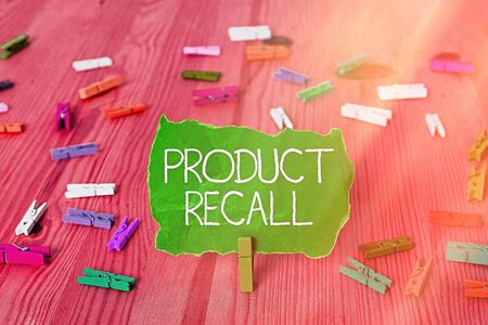 Writing note showing Product Recall. Business concept for request to return the possible product issues to the market