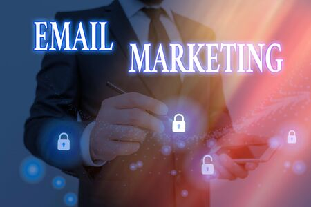 Conceptual hand writing showing Email Marketing. Concept meaning attracting potential buyer by communicating through the message