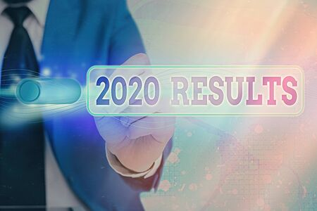 Writing note showing 2020 Results. Business concept for any outcome of an action or event that happens in the year 2020