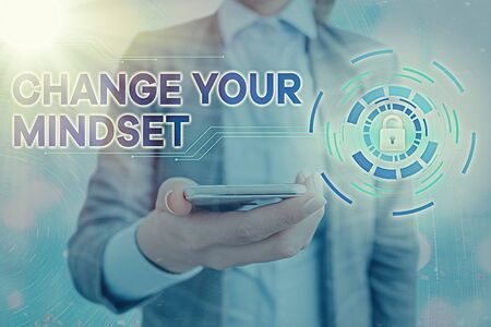 Text sign showing Change Your Mindset. Business photo showcasing Personal development and career growth alteration