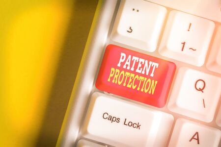 Handwriting text Patent Protection. Conceptual photo provides an individual or legal entity with exclusive rights