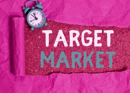 Word writing text Target Market. Business photo showcasing specific costumers to whom a company aims its marketing