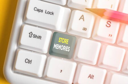 Text sign showing Store Memories. Business photo text a process of inputting and storing data previously acquired