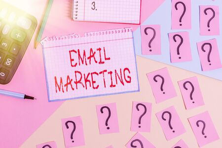 Writing note showing Email Marketing. Business concept for attracting potential buyer by communicating through the message Mathematics stuff and writing equipment above pastel colours background Stock Photo