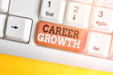 Text sign showing Career Growth. Business photo showcasing Development Ambitions Attainment Motivation Progress in company