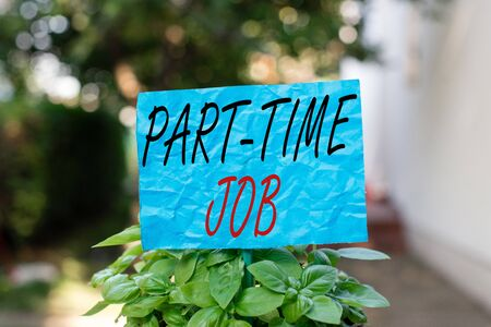 Conceptual hand writing showing Part time Job. Concept meaning employment marked by working less than 40 hours in a week Plain paper attached to stick and placed in the grassy land